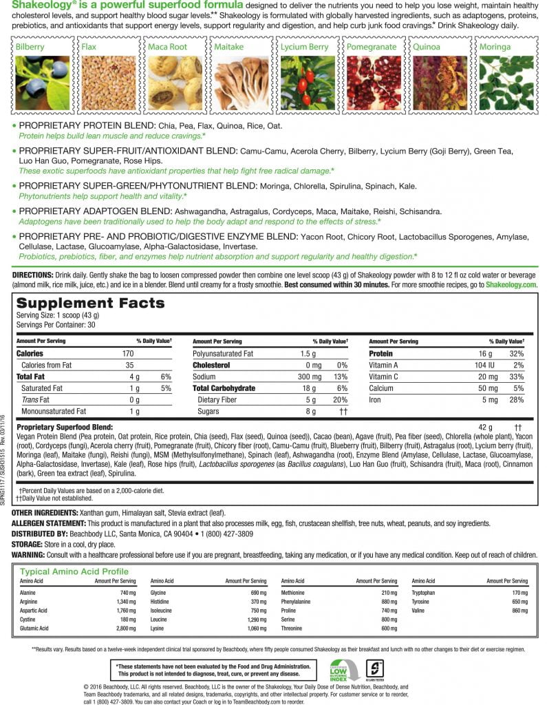 Shakeology Nutritional Facts